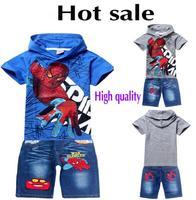 New 2014 Summer Fashion Boys Clothes T-shirt + jeans Clothing Set,Cartoon,Print Spiderman Children Hoodies,Kids Jeans Suit 5471