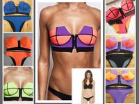 2014Neoprene bikini  Cheap Neon Coral Orange Summer Bikini Bustier Top High Waisted Spandex Panties Swimsuit