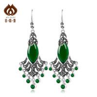925 pure silver green agate silver jewelry earring peacock female earrings 11
