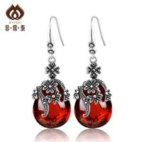 Thai silver 925 pure silver earrings fashion earring red zircon earrings decoration jewelry
