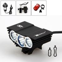 Free shipping 6000Lumen 3x CREE XM-L U2 LED Bicycle bike Light Lamp LED HeadLight Headlamp 8.4v battery Charger & Rear light