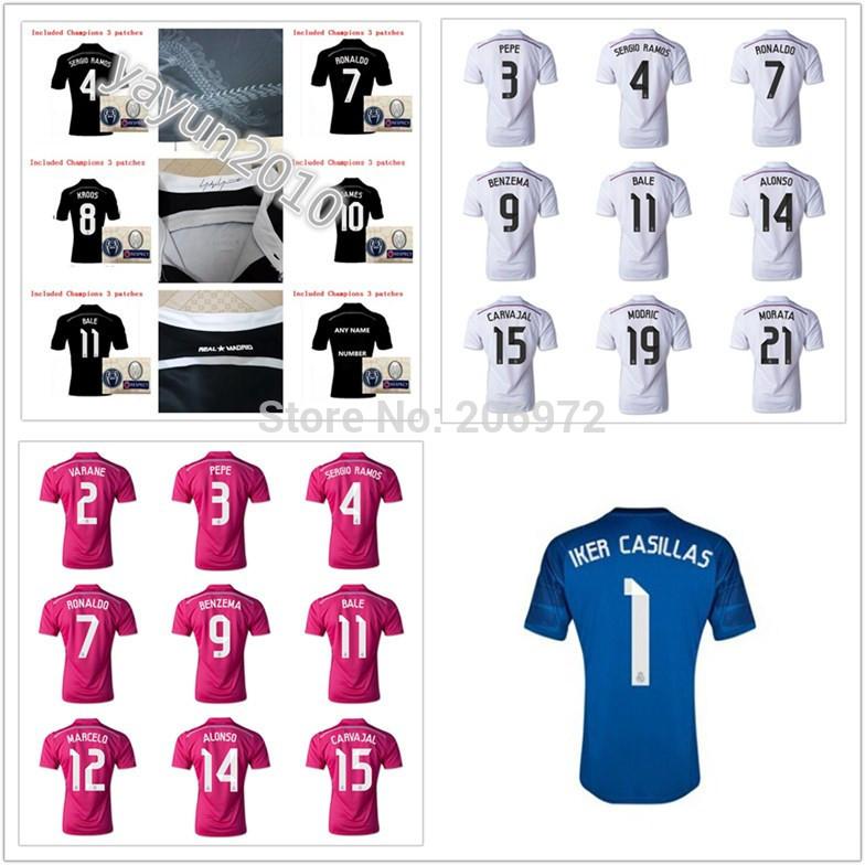 2014 thailandia qualità real madrid maglia 14 15 Kroos Ronaldo balla James camicia 2015 casa lontano nero rosa donne soccer jersey