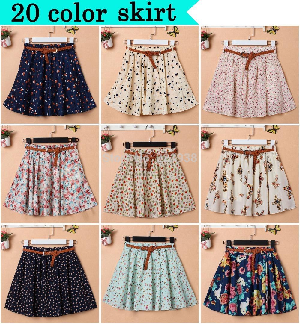 20 Color 2014 New Korean Woman Chiffon skirt Pleated Girls Skirts Short Skirts Women female skirt With Belt(China (Mainland))