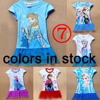 1404z 5 colors new 2014 A short sleeve cartoon TUTU Children's veil lace dress ANNA girls frozen dress