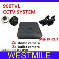 4ch CCTV System 900tvl 3.6mm with 24pcs IR led indoor/outdoor IR Cameras Network D1 DVR Recorder Security Camera System DVR Kit