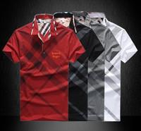 Promotion! Paris Fashion Brand T Shirt Men 2014 New Men's Short Sleeve Cotton Slim Collar Lapel T-Shirt PoloT-Shirt Men