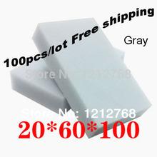 100pcs/lot, envío gratis magia esponja de limpieza 100*60*20mm melamina esponja borrador multi- funcional esponja gris(China (Mainland))
