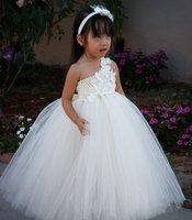 2014 New Summer Dress Flower Girl Dress For Wedding White Girl Party Birthday Dress Flower Girl Floor-length Dress size 2T-8Y