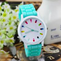 New arrive 2014 women men fashion Geneva watches silicone jelly  quartz wristwatch sport  watch 15 colors