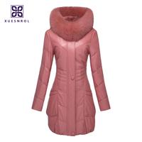 2014 Winter Ladies' Genuine Sheepskin Leather Down & Parkas Trench Coat Fox Fur Hoody Women Fur Outerwear VK1406