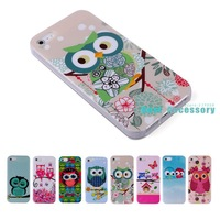 For iPhone 5 5S Cases The Owls Cartoon Cute Animal TPU Gel Case Cover for iPhone 5 5S Back Skin Mobile Phone Cases lovely cases