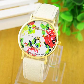 (13 цветов) Новая мода кожа ЖЕНЕВА розы Смотреть Женщины платье часы стильные кварцевые ...