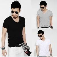 Plug Size handsome man Male short-sleeve T-shirt V-neck cotton solid color fitting male