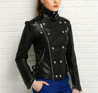 Natural leather jacket women  motorcycle jacket genuine sheepskin leather clothing female short design free shipping OM-1