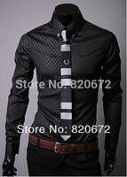 2014 winter new Korean men cultivating long-sleeved shirt fashion men's long-sleeved shirt Obscure Quilted