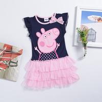 GD032 2014 summer most popular pepa pig girls dresses blue top + pink dress patchwork girl cake dress cotton peppa pig clothing