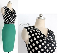Ladies'Sexy Summer Dress Womens Belted Polka Dot Draped Neck Color Block Wear to Work Party Bodycon Clubwear Dress b7 SV002218