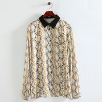 Women fashion polyester big flower prints blouse turn-down collar long sleeves button closure regular shirts 218626