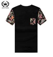 2014 New Arrive Raglan Sleeve Floral Printed Men T-Shirts Round O-Neck Men's Short T Shirt With Pocket Large Size M~6XL 7XL