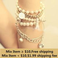 Bracelets & Bangles Womens Unique Jewelry Gold Metal Pearl Multilayer Pendant bracelets & bangles