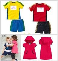 2014 summer baby twinset sportswear sport set children 2 pcs set short sleeve t-shirt +pant shorts boys tracksuits girls clothes