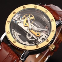 SHENHUA Fashion Mens Golden Auto Automatic Mechanical Wrist Watch Free Ship