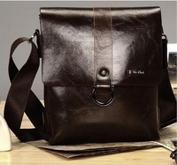 Brown MR famous brand men messenger bag fashion casual shoulder bag  two-double capacity vintage leather bag for men