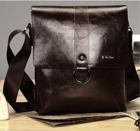 Brown MR famous brand men messenger bag fashion casual shoulder bag  two-double capacity vintage pu leather bag for men
