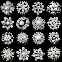 Korean Fashion silver Wedding Brooches Pins Cheap Pearl Alloy Flower Brooches women men jewelry  Luxury Brooches Wedding Brooch