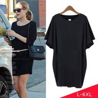 2014 L-6XL Large Big Plus Size Women Summer Dress 6XL 5XL