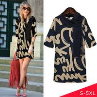 Dress With Scarf 2014 Winter Dresses Plus Size 5XL 4XL XXXL