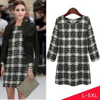 2014 Winter Fashion Plaid Long Sleeve Dress Plus Size L-5XL