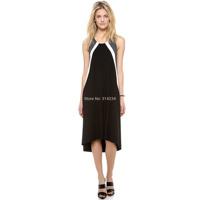 2014 New stripe women's party dress loose sleeveless black XS,S,M,L,XL,XXL summer female cothing