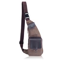 Canvas leather bag male women's chest pack small messenger bag sports waist pack man bag canvas messenger bag