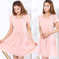 Summer Plus Size Women's 2014 Fashion O-Neck Short Sleeve Lace Decoration Slim Chiffon One-Piece Dress