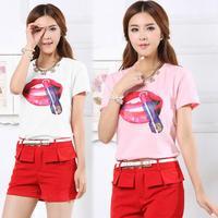 Plus size clothing 2014 summer t-shirt fashion large print loose short-sleeve T-shirt top