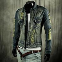 spring 2014 casual denim jackets for men plus size men's coats hole denim jacket jeans coat men's jacket brand women clothing