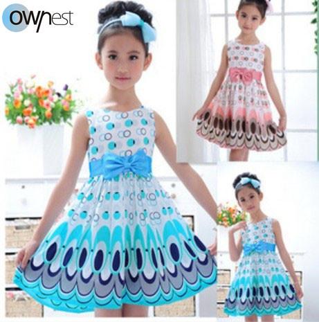 Free shipping Kids Girls Dress cute peacock color sleeveless princess dress circle Korean Fashion children's New clothes(China (Mainland))