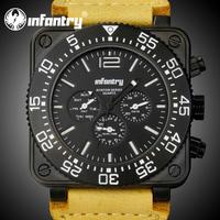 INFANTRY Glow In Dark Men's Date Day Quartz Wrist Watch Brown Leather Fashion Designer Police Style New