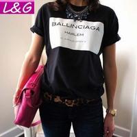 New 2015 Fashion Women T shirt Hot Selling Ballinciaga Tshirt Letter Shirt Spring Summer Tee Tops For Women Clothing Sale 21028