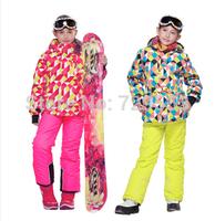 2014 FREE SHIPPING phibee kids winter clothing set  waterproof skiing jacket+pants kids ski suit Russian winter -20-30 DEGREE