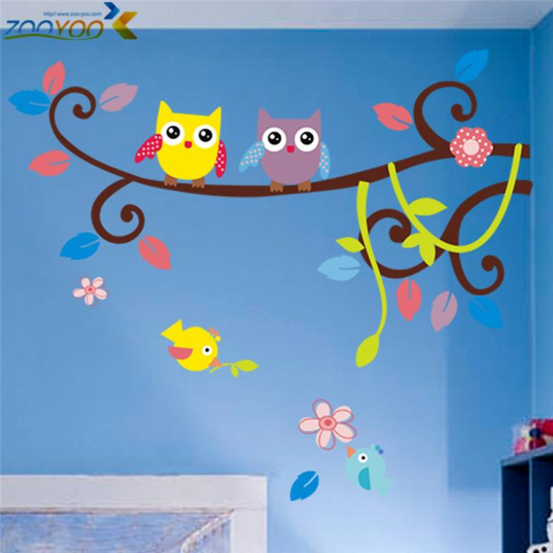 wise owls on colorful tree wall stickers for kids rooms animal decorative adesivo de parede removable pvc wall decal zooyoo1016(China (Mainland))