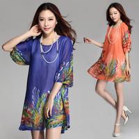 Women Summer dress New 2014 Big Plus Size Women Clothing Chiffon Woman Casual Dresses Hyacinth Flower Floral Print Vestidos XXXL