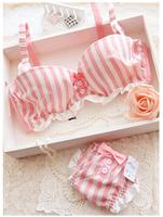 hot push up bra briefs set navy fashion striped chiffon lace bra underwear set with bow women bra and panties