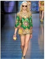 2014 summer dress o-neck silk short design sleeveless one-piece dress mini dress set free shipping