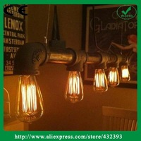 Industrial Loft Vintage Style Luminaire Water Pipe Pendant Light For Bar Restaurant Kitchen Lights With Edison Bulb Lamp