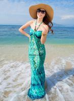 Hot 2014 Boho Summer Women's Sleeveless Boho Bohemian Summer Beach Ice Silk Long Dress Casual Dress Drop Shipping b014 SV002011