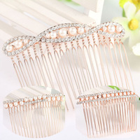Z6593 Free shipping New arrival elegant sparkling pearl crystal hair combs for lady