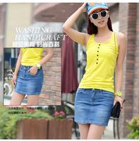 2015 spring and summer light color denim blue short slim female miniskirt bust step slim skirt hip basic vintage new