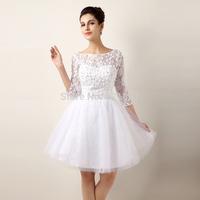 new 2014 short wedding dress vestido de noiva bridal gown vestido de renda branco curto sexy wedding dresses lace real photo